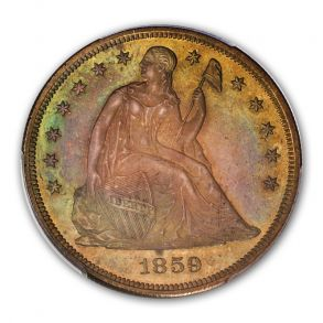 1859 $1 Liberty Seated Dollar PCGS PR65 (CAC)