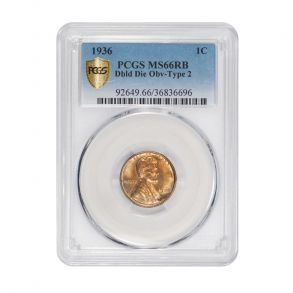 1936 1C Lincoln Cent - Type 1 Wheat Reverse PCGS MS66RB