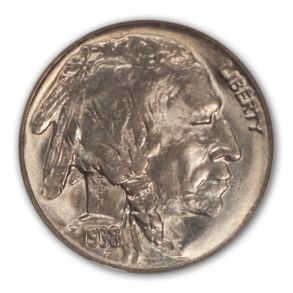 1938-D D Over S Buffalo Nickel Type 2 5C NGC MS67