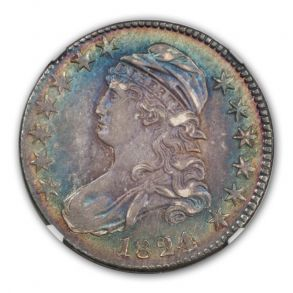 1824/VARIOUS DATES Capped Bust, Lettered Edge O-103 50C NGC AU58